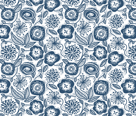 Linocut Leaves and Petals - Navy fabric by run_quiltgirl_run on Spoonflower - custom fabric