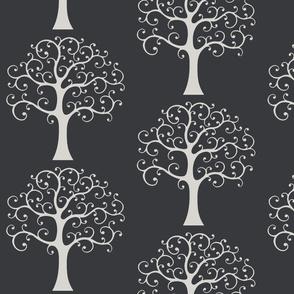 Winter tree on grey