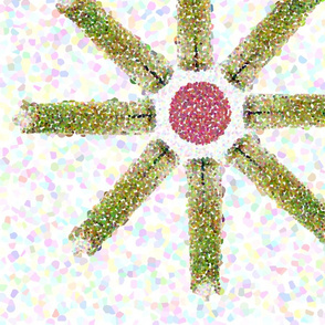 Sage Green Pointillized Flower large scale
