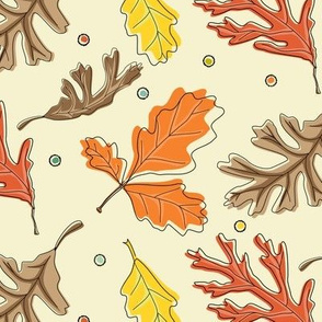 Fall Oak Leaf Toss with dots