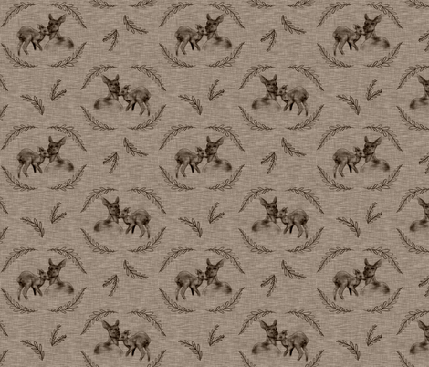 Doe and Fawn - mocha linen fabric by sugarpinedesign on Spoonflower - custom fabric