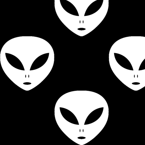 Three Inch White Aliens on Black fabric by mtothefifthpower on Spoonflower - custom fabric