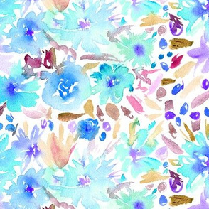 Watercolor light blue floral pattern