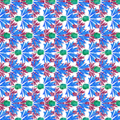 Moroccan Blue & Wine Cornflowers N1 (white)