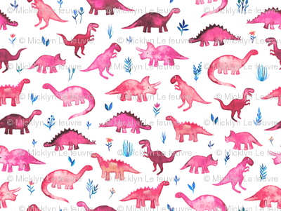 Extra Tiny Dinos in Magenta and Coral on White