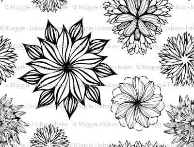 Floral Black and White Garden Pattern