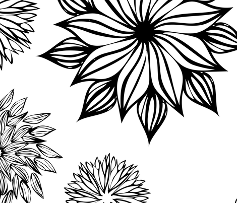 Floral Black and White Garden Pattern fabric by 2329_design on Spoonflower - custom fabric