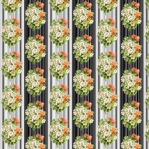 RETRO WHITE ORANGE FLOWERS STRIPES  SMALL BOUQUET PINSTRIPES BLACK AND WHITE BW
