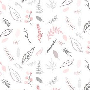 """4"""" Pink Grey & White Leaves"""