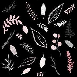 """8"""" Pink Grey & White Leaves"""