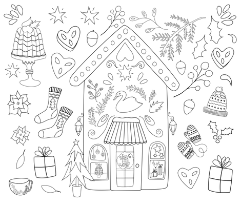 Merry Christmas Colouring fabric by esthermols on Spoonflower - custom fabric