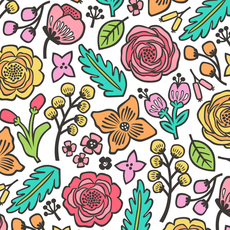 Flowers & Leaves Doodle on White fabric by caja_design on Spoonflower - custom fabric