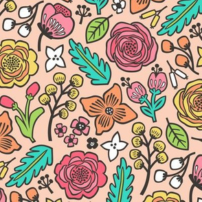 Flowers & Leaves Doodle on Peach