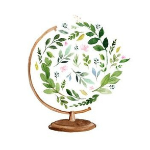 """7"""" Floral Globe / Mix and Match Print"""