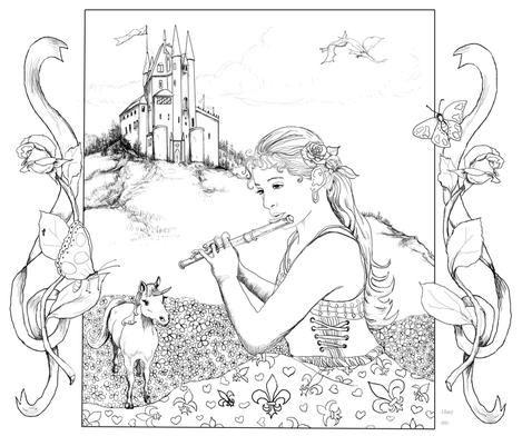 coloring_fairy_final fabric by wetpaint1 on Spoonflower - custom fabric