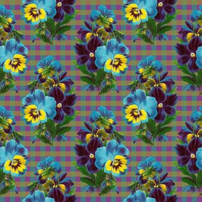 RETRO TURQUOISE PANSIES ON GINGHAM