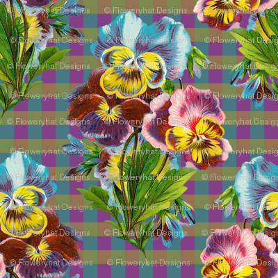RETRO MULTICOLOR PANSIES ON GINGHAM