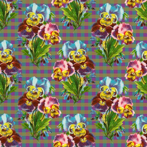 RETRO MULTICOLOR PANSIES ON GINGHAM fabric by floweryhat on Spoonflower - custom fabric