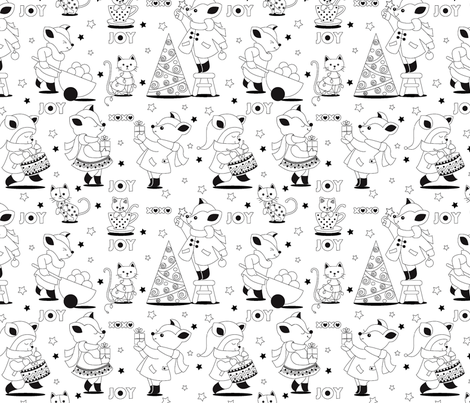 black and white coloring book fabric by theboutiquestudio on spoonflower custom fabric