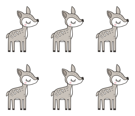 Deer Pillow Plush Plushie Softie Cut & Sew Mirror  fabric by caja_design on Spoonflower - custom fabric