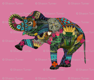 asian elephant pink FQ panel