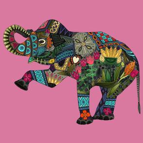 asian elephant pink FQ panel