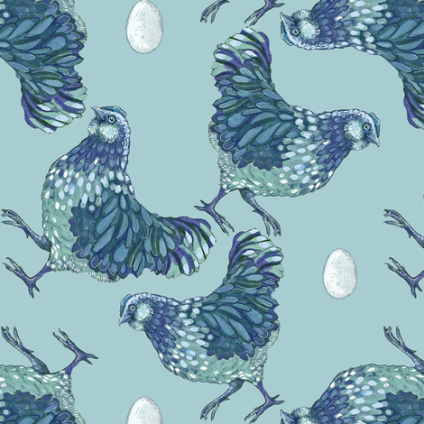 hen scatter, blueberry fabric by turnbucklefarm on Spoonflower - custom fabric