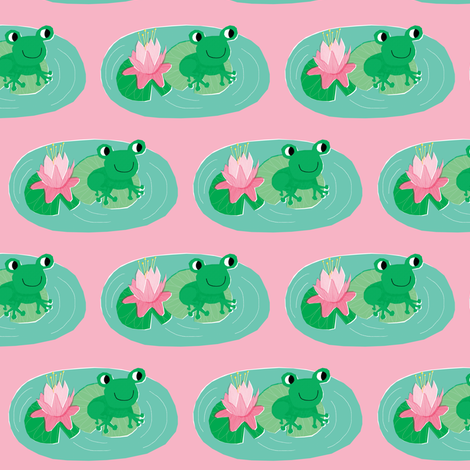Frog Pond Pink fabric by amywalters on Spoonflower - custom fabric