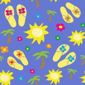 Happy Summer Icons on Purple Background
