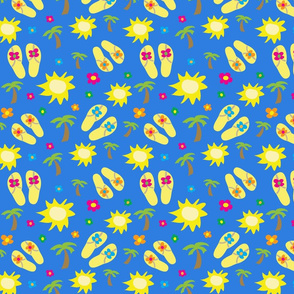 Summer Icons on Blue Backgroud