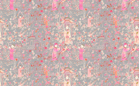 chinese_scene_pink_gray fabric by jenlats on Spoonflower - custom fabric