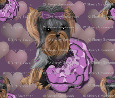 Yorkie Lilac Hearts Pillow
