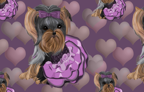 Yorkie Lilac Hearts Pillow fabric by sherry-savannah on Spoonflower - custom fabric
