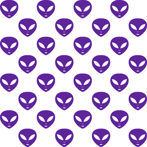 One inch purple aliens on white fabric mtothefifthpower for Alien print fabric