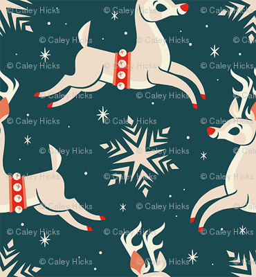 Small Reindeer (Dark Blue)