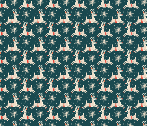 Small Reindeer (Dark Blue) fabric by therewillbecute on Spoonflower - custom fabric