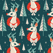 Woodland Reindeer (Dark Blue)