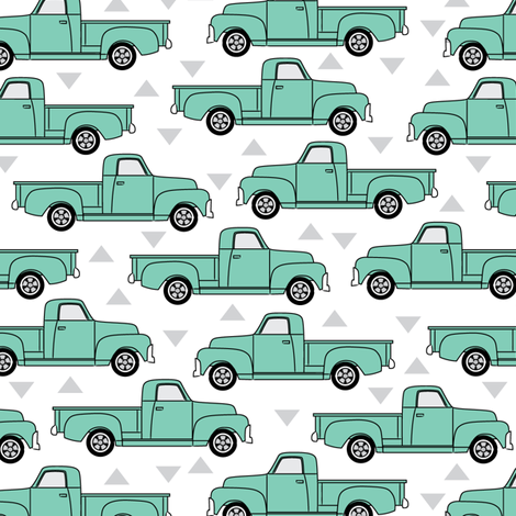 mint green trucks fabric by lilcubby on Spoonflower - custom fabric