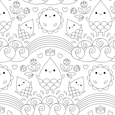 Water spirits fabric by petitspixels on Spoonflower - custom fabric