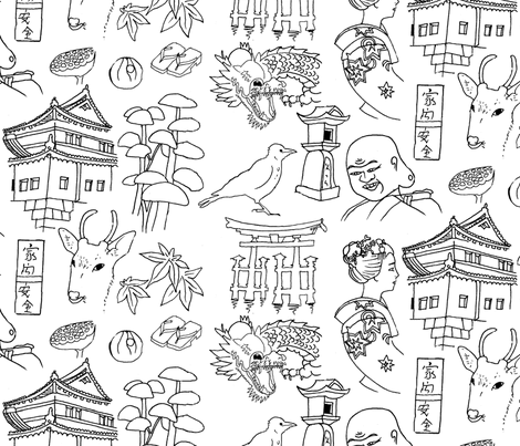 Japan collage fabric by zandloopster on Spoonflower - custom fabric