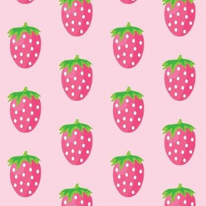 large strawberries on pink