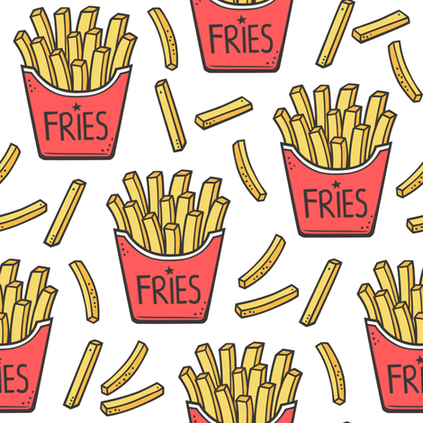 French Fries Fast Food Red on White fabric by caja_design on Spoonflower - custom fabric