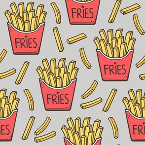 French Fries Fast Food Red on Light Grey