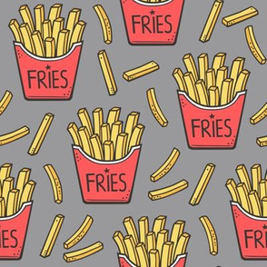 French Fries Fast Food Red on Grey