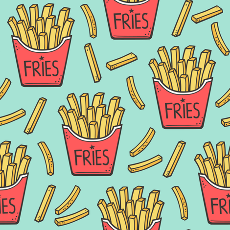 French Fries Fast Food Red on Mint Green fabric by caja_design on Spoonflower - custom fabric