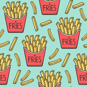 French Fries Fast Food Red on Mint Green