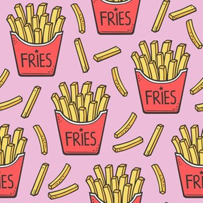 French Fries Fast Food Red on Pink