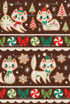 Gingerbread Kitties Stripe (Brown)