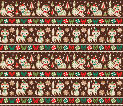 Gingerbread Kitties Stripe (Brown) fabric by therewillbecute on Spoonflower - custom fabric