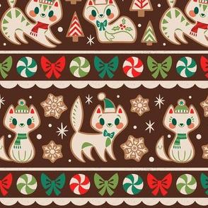 Gingerbread Kitties Stripe (Brown)